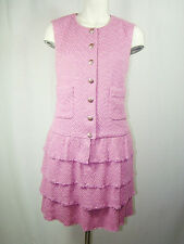 $5k Authentic Chanel Pink Tweed Occasion Cocktail Dress EUR Size 40 France US 8