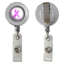 Breast Cancer Pink Ribbon Retractable Reel Chrome Badge ID Card Holder