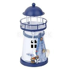 Hand Painted Lighthouse Iron Candle Holder Nautical Sea Gull Decor 13.5cm