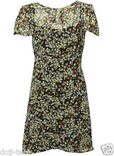 Topshop Ditsy Floral Print Lined Chiffon 40s Vtg Autumn Shift Tea Dress 8 36 US4