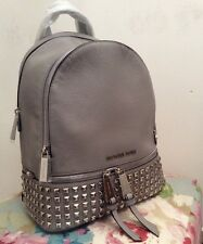 Genuine Michael Kors Medium Rhea Studded Pearl Grey Backpack Rrp £390