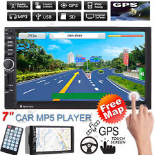 "7"" Double 2 Din Bluetooth Car GPS Navi Radio Stereo MP5 Player USB/FM+ Free Map"