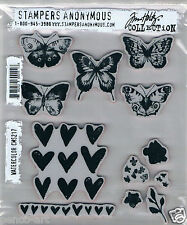 Stampers Anonymous rubber stamp 12 set Butterflies Butterfly heart hearts border