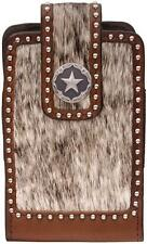 3D Western Leather Hair On Star Concho Large Smartphone Phone Holder Brown PH644