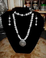 NEW* HANDCRAFTED; WHITE PEARLS & SILVER SCROLL BEAD ACCENTS JEWELRY GIFT SET