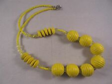 AUNT DEB'S ESTATE BEAUTIFUL YELLOW BEADED NECKLACE  #6