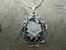 -STUNNING (white rose on black) CAMEO NECKLACE!!- .925 SILV PLATED CHAIN