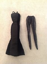Black Givenchy Velvet Type Dress or Evening Gown for Barbie Doll w/ Black Tights