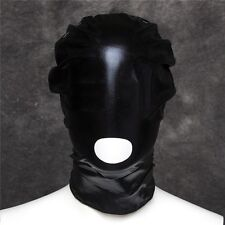 PVC Wet Leather Look Open Mouth Head Hood, Fetish Bondage Restraint Mask