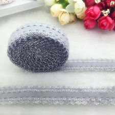 """NEW 5 Yards 3/4"""" 20mm Gray Multirole Fold Over Elastic Spandex Lace Band"""