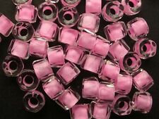 50 light PINK-lined CRYSTAL faceted roller large hole Czech glass beads 5x4mm