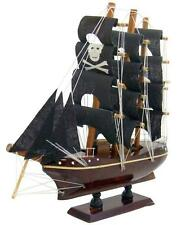Model Pirate Ship 8 Inches Long Handmade Wooden Boat Caribbean Decor For Home