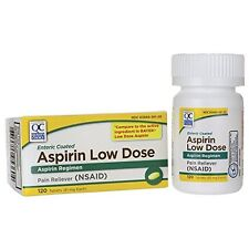 2 Pack Quality Choice Aspirin 81mg Low Dose Enteric Coated 120 Tablets Each