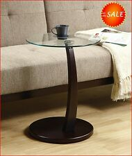 Coffee Side End Round Accent Table Glass Top Wood Modern Living Room Furniture