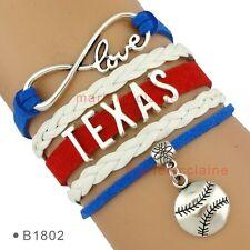 Texas Rangers Baseball Infinity Bracelet Love Charms MLB Sports Fan US SELLER