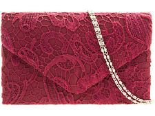 Ladies Burgundy Wine Dark Red Satin & Lace Envelope Style Box Clutch Bag