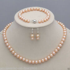 7-8mm Pink Freshwater Genuine Pearl Necklace Bracelet Earrings Set 18""