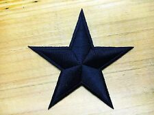"""""""NEW"""" Black Star Easy Embroidered Iron / Sew On Patch"""
