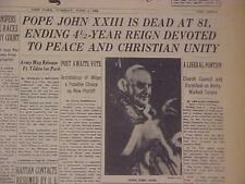 VINTAGE NEWSPAPER HEADLINE~ITALY ROME CATHOLIC CHURCH POPE DIES JOHN XXIII DEAD~