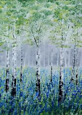 ORIGINAL BLUEBELLS SILVER BIRCH TREES ACRYLIC LANDSCAPE PAINTING