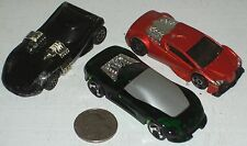 "Car 3pc Group #47 -Rich Red, Black & Dark Green Custom Race Cars 3"" USED"