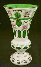 Antiq Bohemian Czech Moser White Overlay Cut Emerald Green Hand Painted Vase 10""