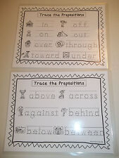 2 Trace the Prepositions Laminated Dry Erase Worksheet. Kindergarten and 1st