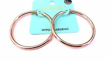CLIP-ON EARRINGS ROSE GOLD PLATED HOOP EARRINGS HYPO-ALLERGENIC HOOPS 2 INCH