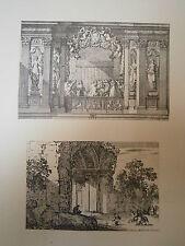 Planche gravure Jean le Pautre Ruines antiques - L'alcôve royale