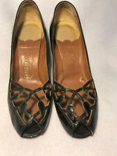 Vintage 40s 50s Black Leather Peeptoe Cut Out Vamp Pin Up Girl Heels Shoes 9