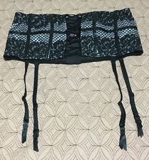 NWOT EUC Victoria's Secret Corset Garter Fishnet Black Purple Violet Sz L Large