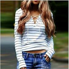 Women Stripe V-Neck T-Shirt Long Sleeve Loose Casual Tops Blouse Pullover Z1