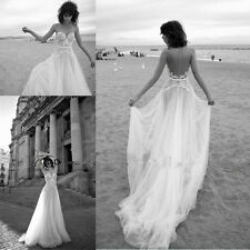 Elegant Lace Backless Beach Wedding Dresses Vintage 2016 New Bridal Gowns Custom