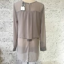NEW ZARA GREY LAYERED BACK DETAIL SILK STYLE TUNIC TOP SMALL UK 8 Z384