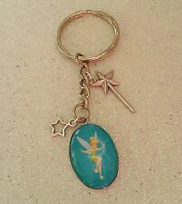 Tinkerbell Fairy Fairies Image Keyring or Bag Charm Gift with wand star Charms