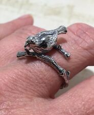 Beautiful Bird On A Branch! SOLID 925 Sterling Silver Bird Ring Sz 10