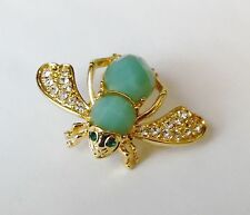 Joan Rivers Bumble Bee Rhinestones Candy Colored Green Pin Brooch