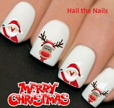 Nails WRAPS Nail Art Water Transfers Decals Christmas Santa Rudolf Red Nose Y765