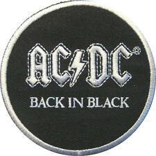 """AC/DC AUFBÜGLER / EMBROIDERY PATCH # 66 """"BACK IN BLACK"""" - 7cm"""