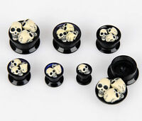 Pair x Black Skull Ear Expander Plug 6mm-16mm  Tunnel Acrylic Screw On UK Seller
