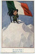 WW1. EN AVANT L'ITALIE . HURRAH FOR ITALY . MAS. PATRIOTIQUE . PATRIOTIC CHILD