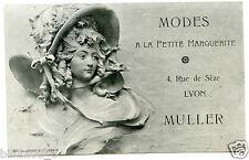 """Lyon.dépliant publicitaire.Modes """" Muller """" A LA PETITE MARGUERITE. art-nouveau"""
