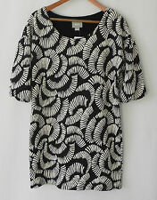 Maeve Dress Black/White Cotton Blend Pull Over Tunic 3/4 Sleeve Size L