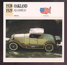 1928-1929 Oakland All-American Six-Cylinder Car Photo Spec Sheet Stat Info CARD