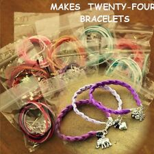 D / TWENTY-FOUR  METAL CHARM BRACELET KITS / CRYSTAL BEADS / IDEAL PARTY PACKS