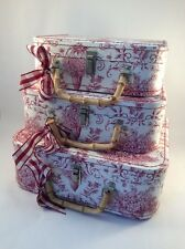 Lady Jayne Cranberry Red Toile Stacking Suitcases Storage Box Shabby Chic Set/3