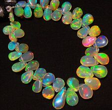 Natural Ethiopian Opal Ultimate Quality Rainbow Fire Pear Shape Briolettes 6""