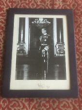 large navy blue leather framed photo of prince philip signed and dated 1961