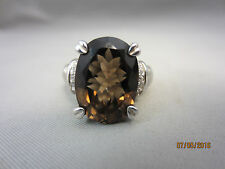 Judith Ripka Sterling Silver Large Smokey Quartz Diamonique Ring Size 11