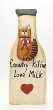Vintage Milk Bottle Wood Hanging Sign with Cat Saying- Country Kitties Love Milk